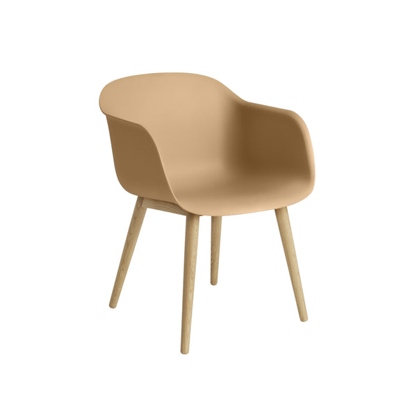 muuto fiber armchair in ochre with wood base, available at someday designs