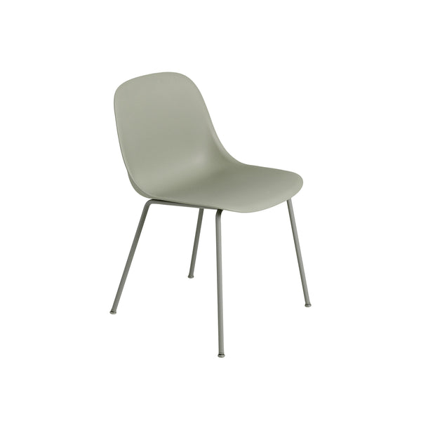 Muuto Fiber Side Chair Tube Base, dusty green seat and legs. Available from someday designs