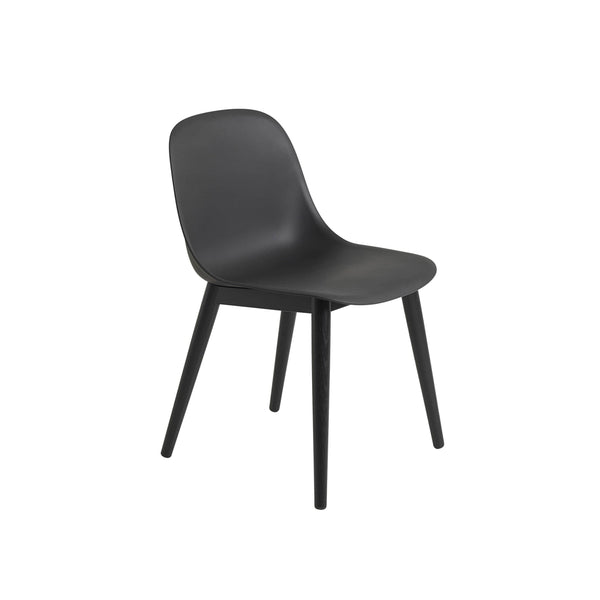 Muuto Fiber Side Chair Wood Base in black, available from someday designs