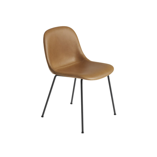 Muuto Fiber Side Chair Tube Base, cognac refine leather seat and black legs. Available from someday designs