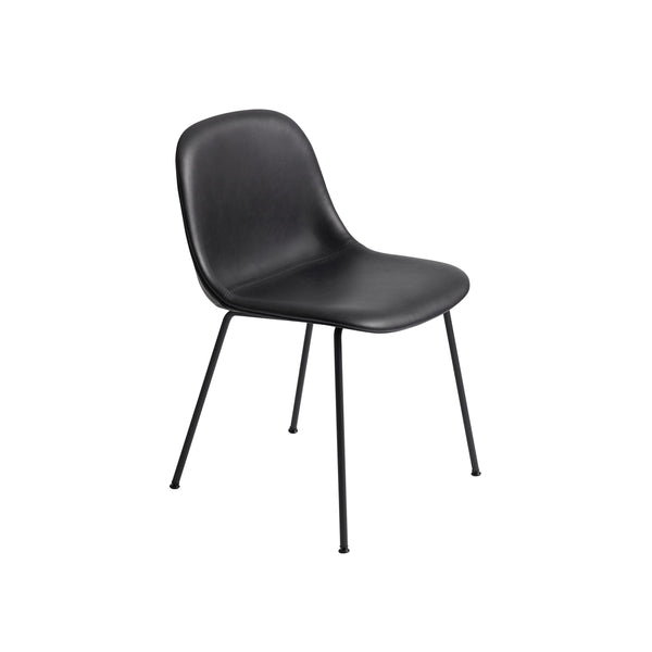 Muuto Fiber Side Chair Tube Base, black refine leather seat and black legs. Available from someday designs