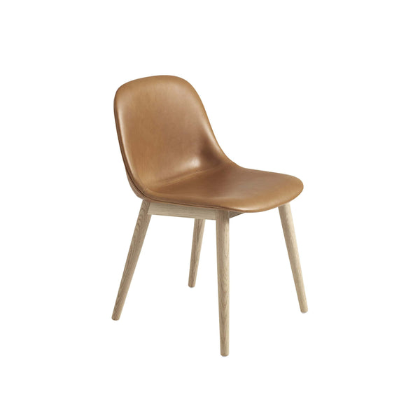 Muuto Fiber Side Chair Wood Base in cognac refine leather and oak, available from someday designs