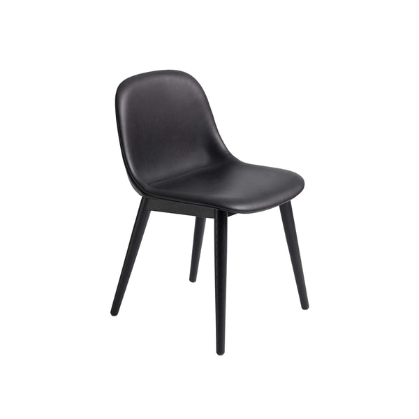 Muuto Fiber Side Chair Wood Base in black refine leather and black, available from someday designs