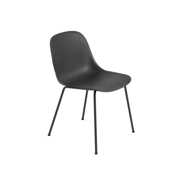 Muuto Fiber Side Chair Tube Base, black seat and legs. Available from someday designs