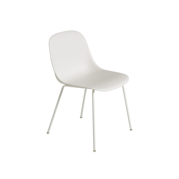 Muuto Fiber Side Chair Tube Base, white seat and legs. Available from someday designs