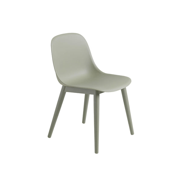 Muuto Fiber Side Chair Wood Base in dusty green, available from someday designs