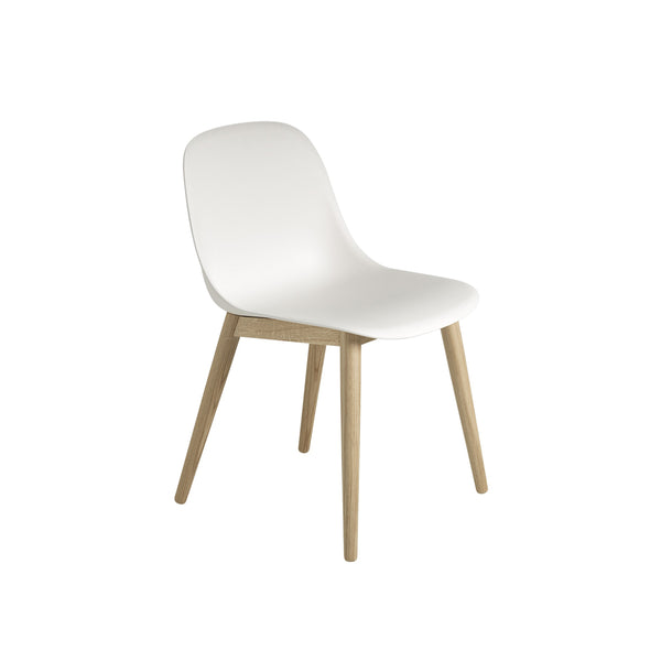 Muuto Fiber Side Chair Wood Base in white and oak, available from someday designs