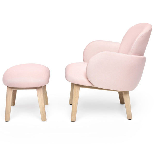 puik dost lounge chair and footstool in pink with wooden legs, shop online at someday designs