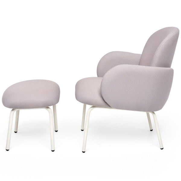 puik dost lounge chair and footstool in lilac grey with white steel legs, shop online at someday designs