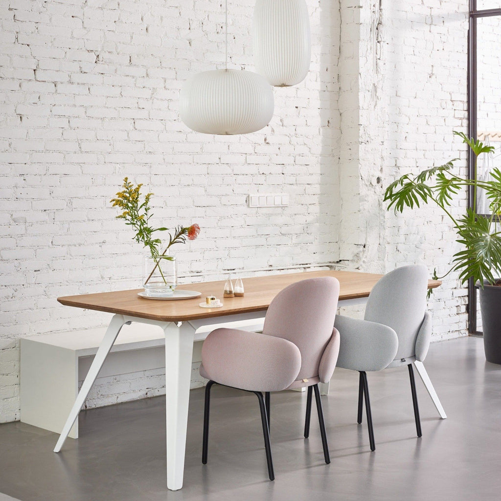 puik dost diner chair in light grey and light pink with black steel legs, available from someday designs