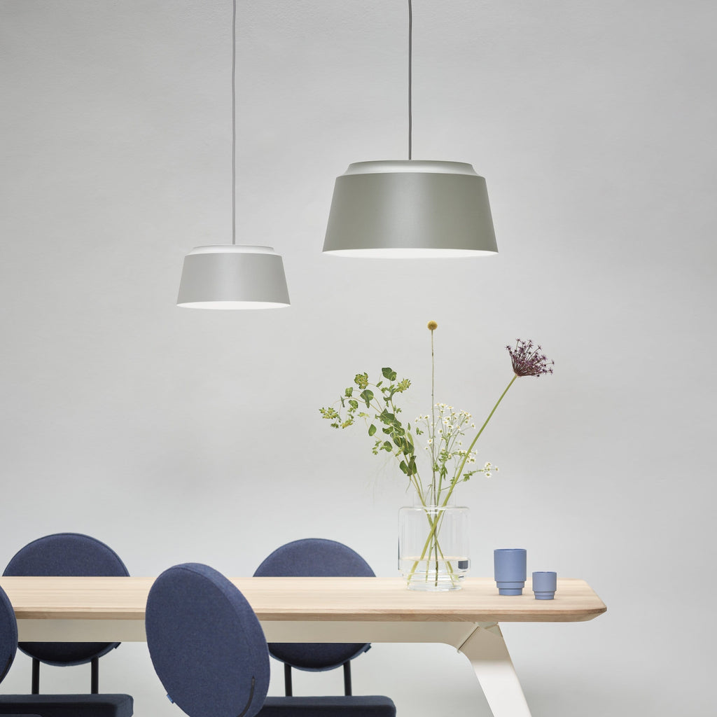 puik groove pendant small and large used as a cluster over the puik fold table, all available from someday designs