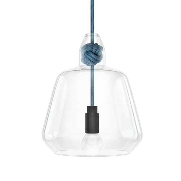 Knot Lamp is made from handblown glass with two shade designs, both supported by a monkey fist knot in a choice of 6 colours.  Pictured here with mid blue fabric cord.  Beautiful, simple and versatile lighting.