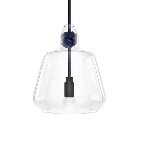 Knot Lamp is made from handblown glass with two shade designs, both supported by a monkey fist knot in a choice of 6 colours.  Pictured here with navy fabric cord.  Beautiful, simple and versatile lighting.