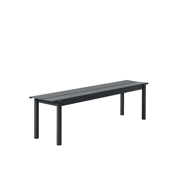 Muuto Linear Steel Bench in black, 34x170. Outdoor living by someday designs