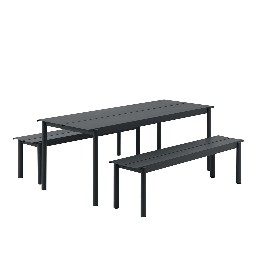 Muuto Linear Steel Bench and table in black. Outdoor living by someday designs