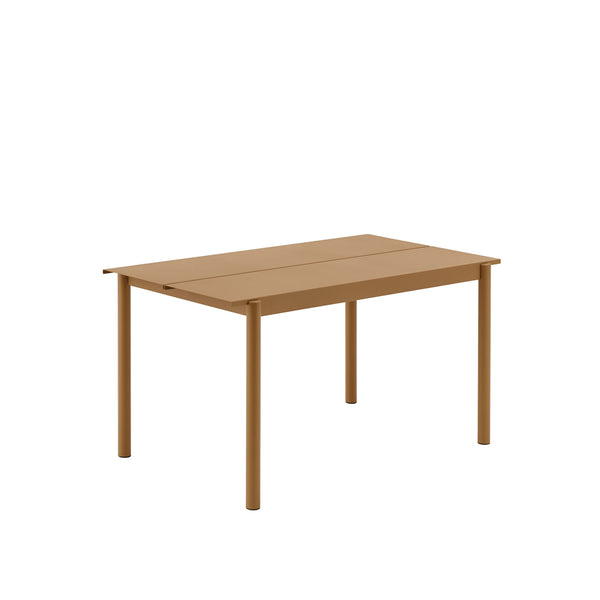 Muuto Linear Steel Table 140x75 in burnt orange, available from someday designs