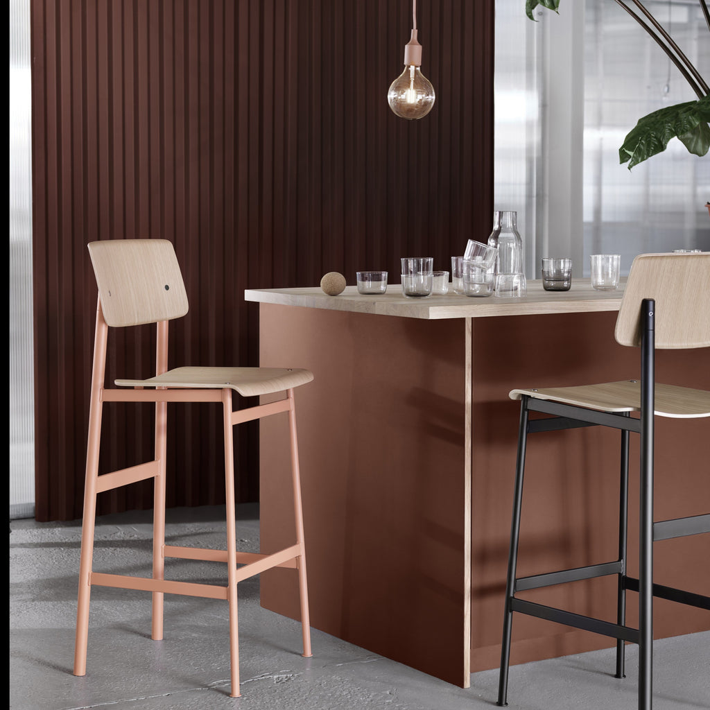 muuto loft bar stool dusty green and dusty rose in bar/entertaining setting