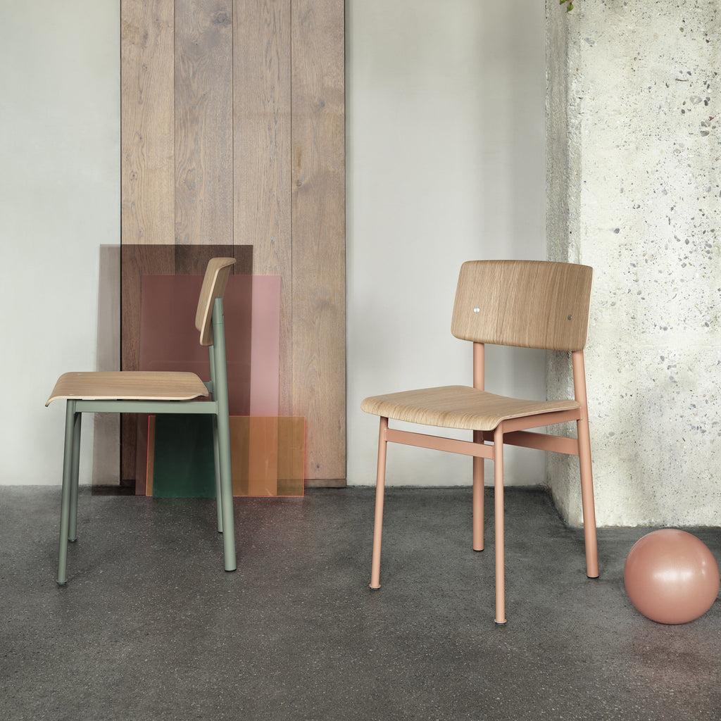 muuto loft chair dusty green and dusty rose in industrial setting available at someday designs