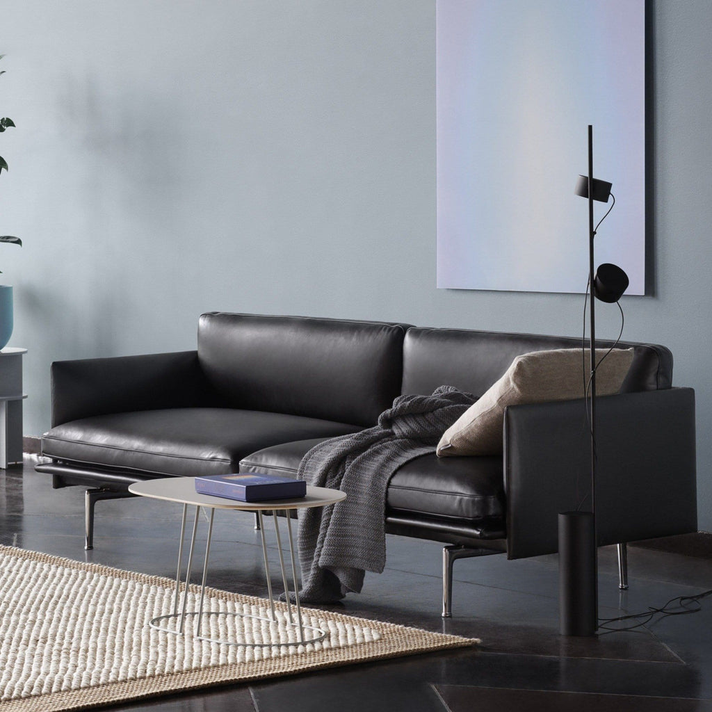 muuto outline sofa 3 seater in black leather, available from someday designs