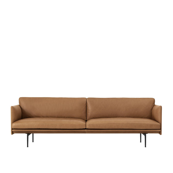 muuto outline sofa 3 seater cognac refined leather, available from someday designs