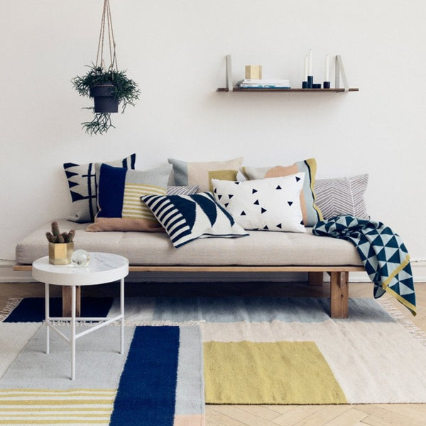 kelim rug squares by Ferm Living in a Scandinavian inspired setting