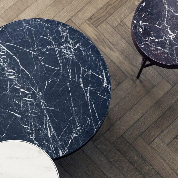 ariel view of the marble tables by Ferm Living.