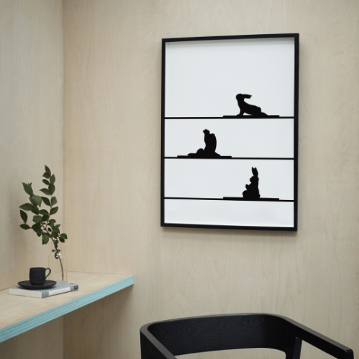 monochrome yoga rabbit print in modern office setting