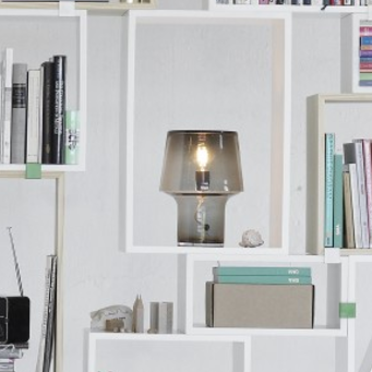 Muuto Cosy in Grey Table Lamp within Stacked Shelving available at someday designs