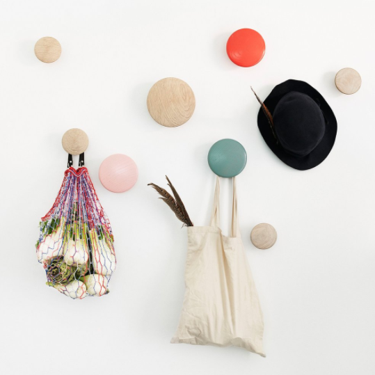 muuto dots arranged colourfully with hanging bags and hat available at someday designs