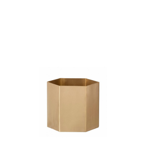 ferm living small brass hexagon plant pot