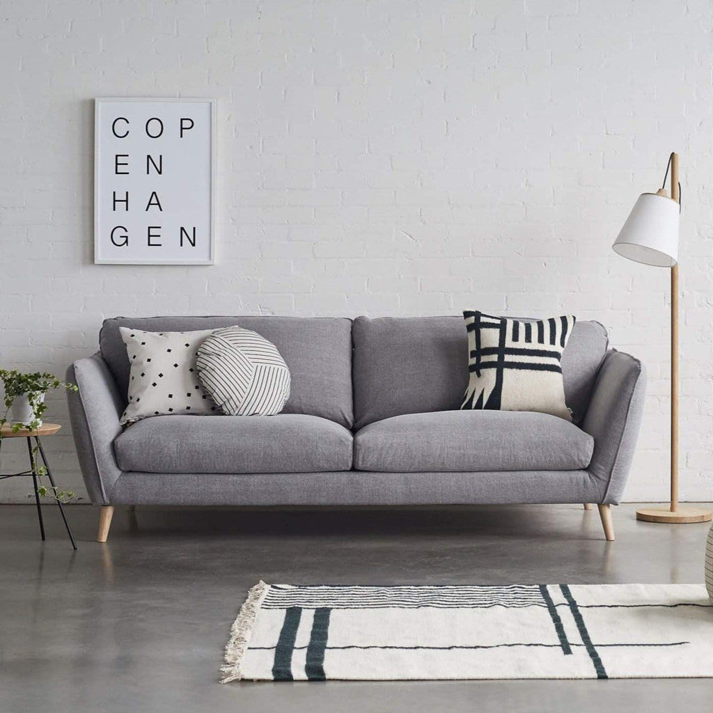 jessen 3 seater light grey oak legs with monochrome styling