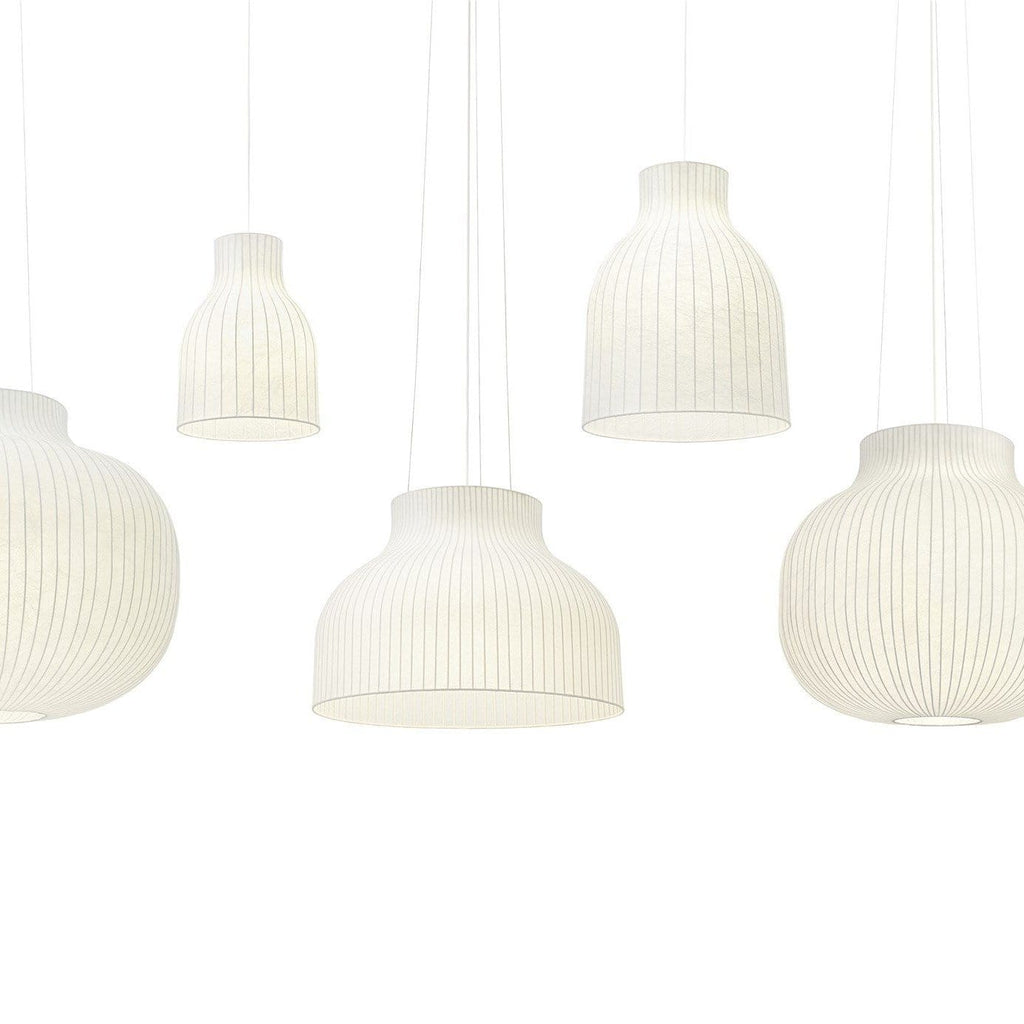 Muuto Strand Pendant lamp series, in open and closed designs. Available from someday designs