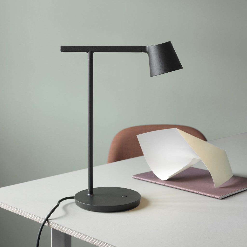 black tip lamp by Jens Fager for muuto in office setting