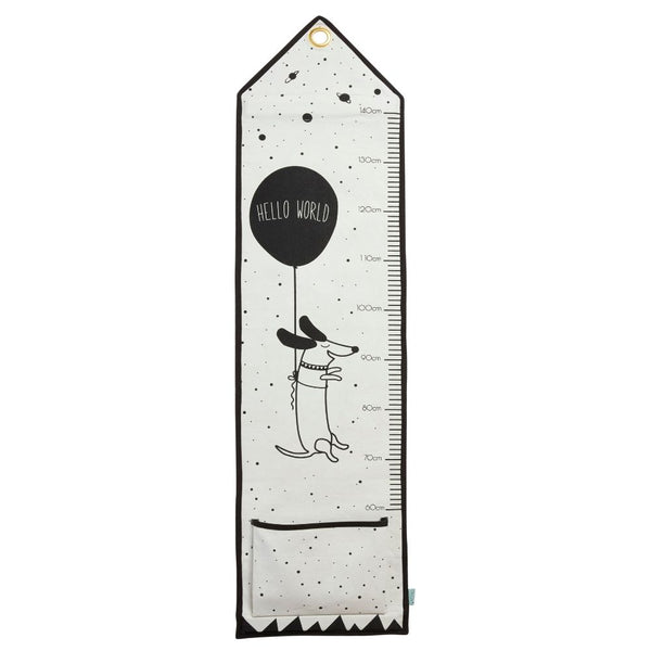 OYOY hello world measuring board is a monochrome children's height tracker with dog and balloon motif.