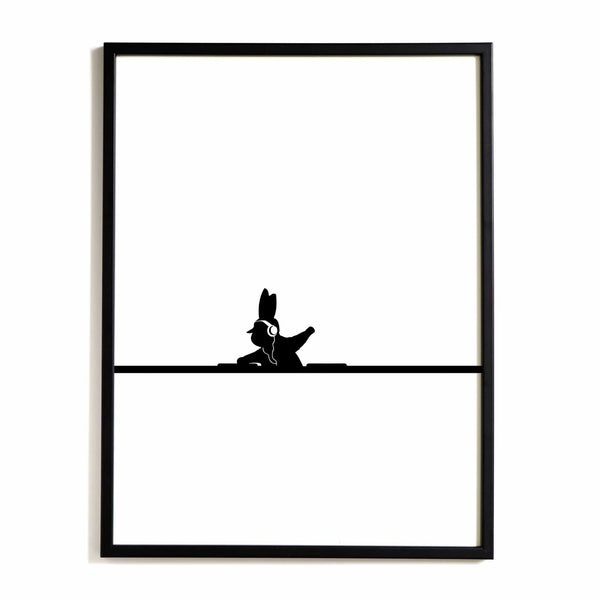 HAM DJ Rabbit print from someday designs. Gift idea under £50 for music lovers. Playful, minimalist artwork.