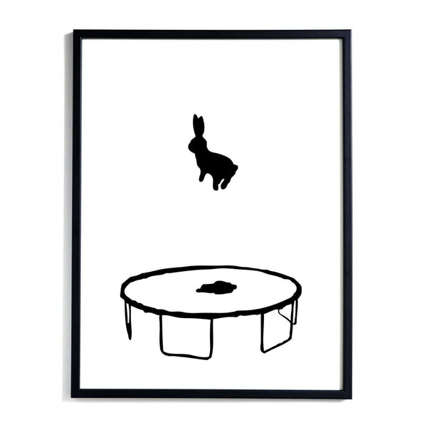 HAM bouncing rabbit art print. Black & white, minimalist artwork. Gift idea under £50 for kids and grown ups. Shop online at someday designs