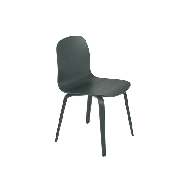 Muuto Visu chair wood base in dark green. A modern dining chair available to buy from someday designs
