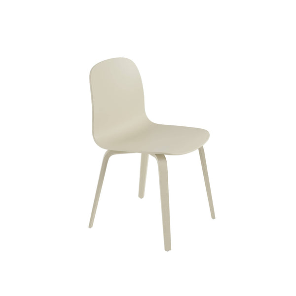 Muuto Visu chair wood base in sand. A modern dining chair available to buy from someday designs