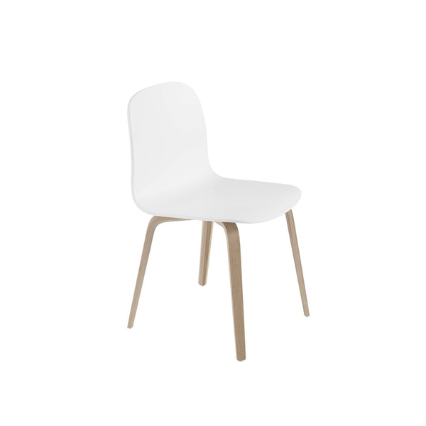 Muuto Visu chair wood base in white and oak. A modern dining chair available to buy from someday designs