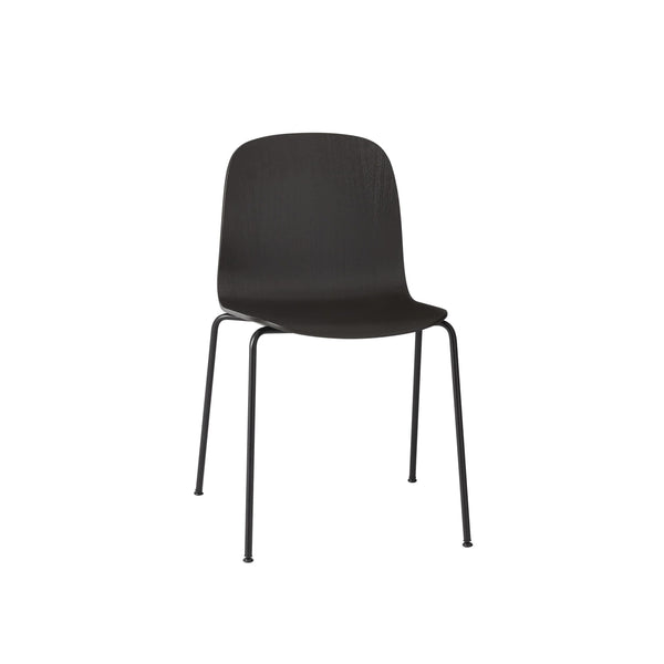 Muuto Visu chair with tube base in black with black legs. Available from someday designs