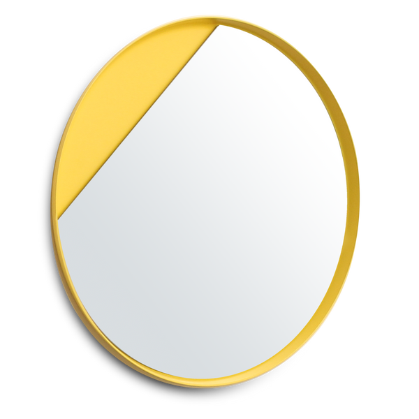 Eclipse mirror with its signature cut out slice.  Creates a decorative wall feature as well as a mirror.  Ideal for living room, bedroom, bathroom or hallway areas.  Fun and bright mirror.  Pictured here in yellow.