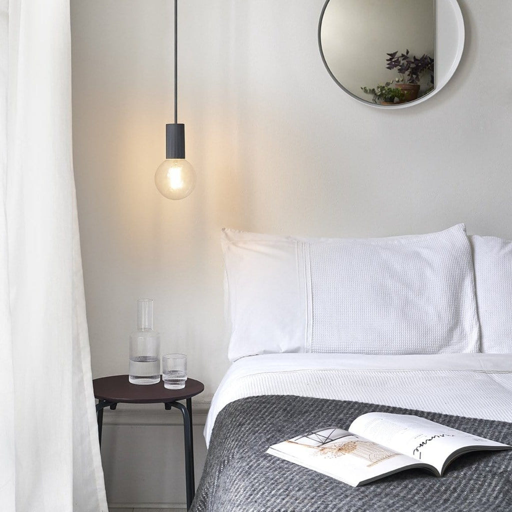 Vitamin x someday designs case pendant hanging ceiling lamp in grey, ideal as a bedside light. Available from someday designs