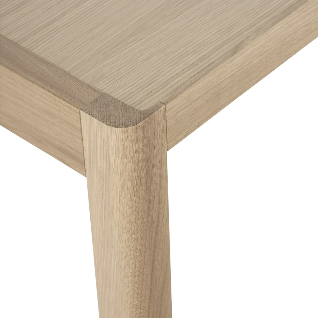 Muuto Table in Oak, close up detailing. Shop online at someday designs.