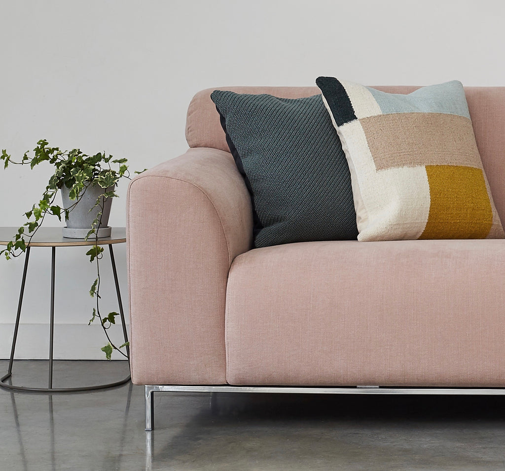 detail lifestyle shot of muna sofa series in pure 04 nude pink