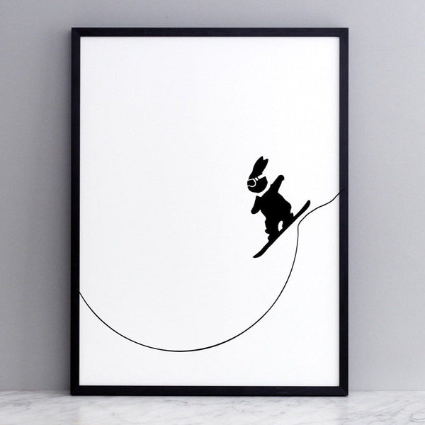 black and white image of HAM rabbit snowboarding off a slope.  Fun and playful series of prints.  Ideal for adults and children.