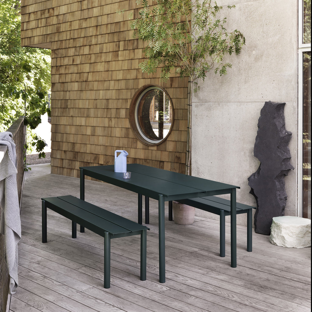 Muuto Linear Steel Bench and table in dark green. Outdoor/garden dining by someday designs