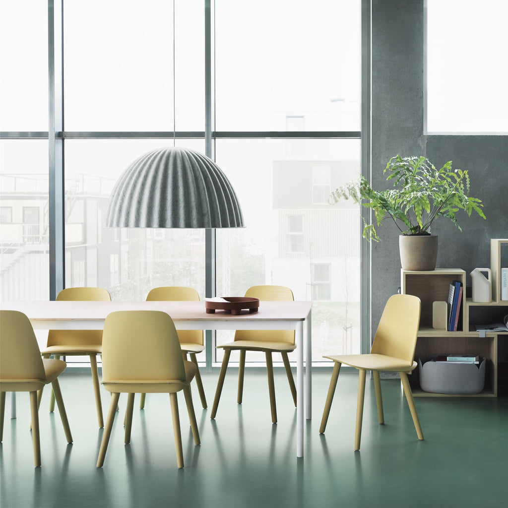 Muuto Nerd Chair in sand yellow, ideal dining room chair. Shop now from someday designs