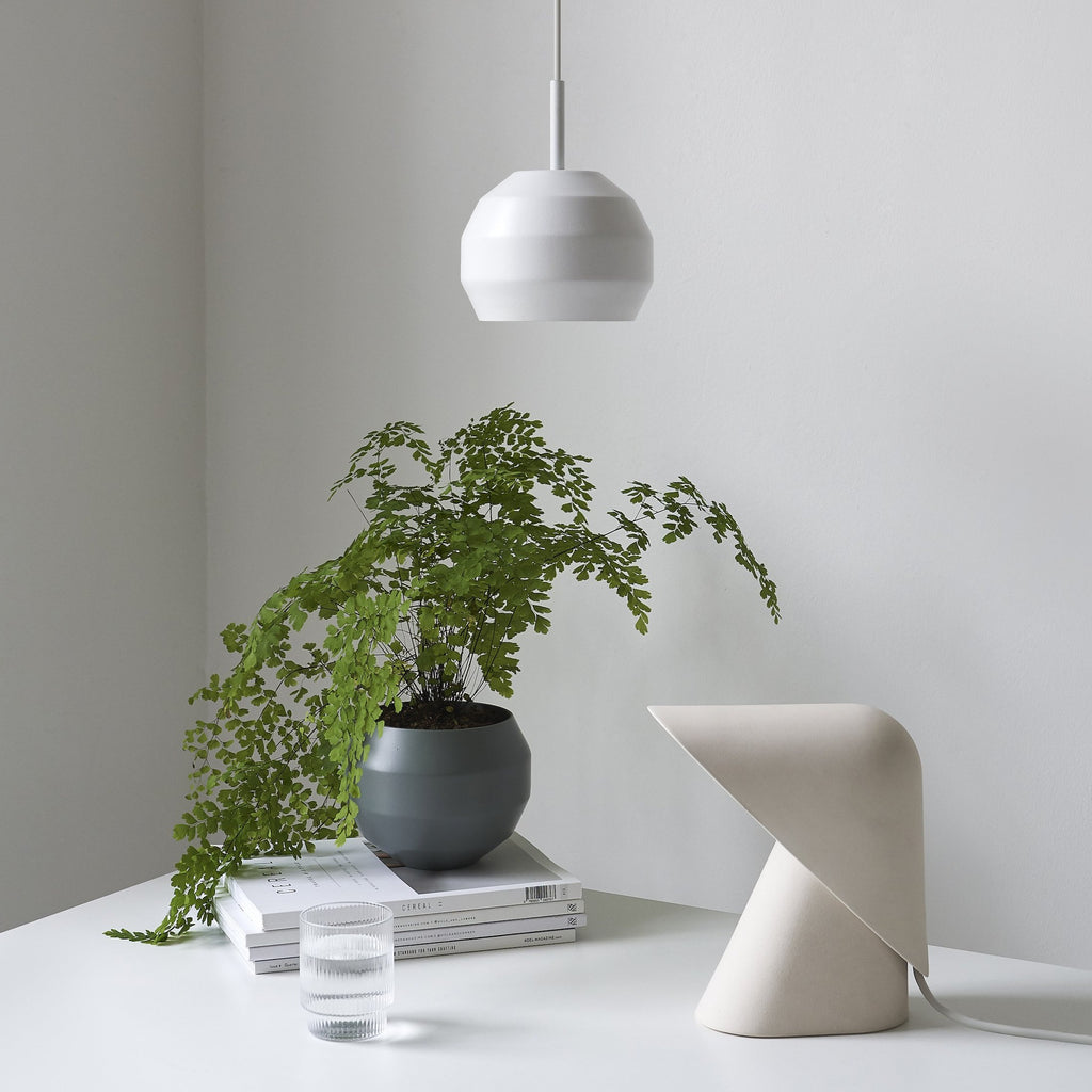 Vitamin Mini Pitch Pendant light in white with Vitamin K desk lamp. Available from someday designs