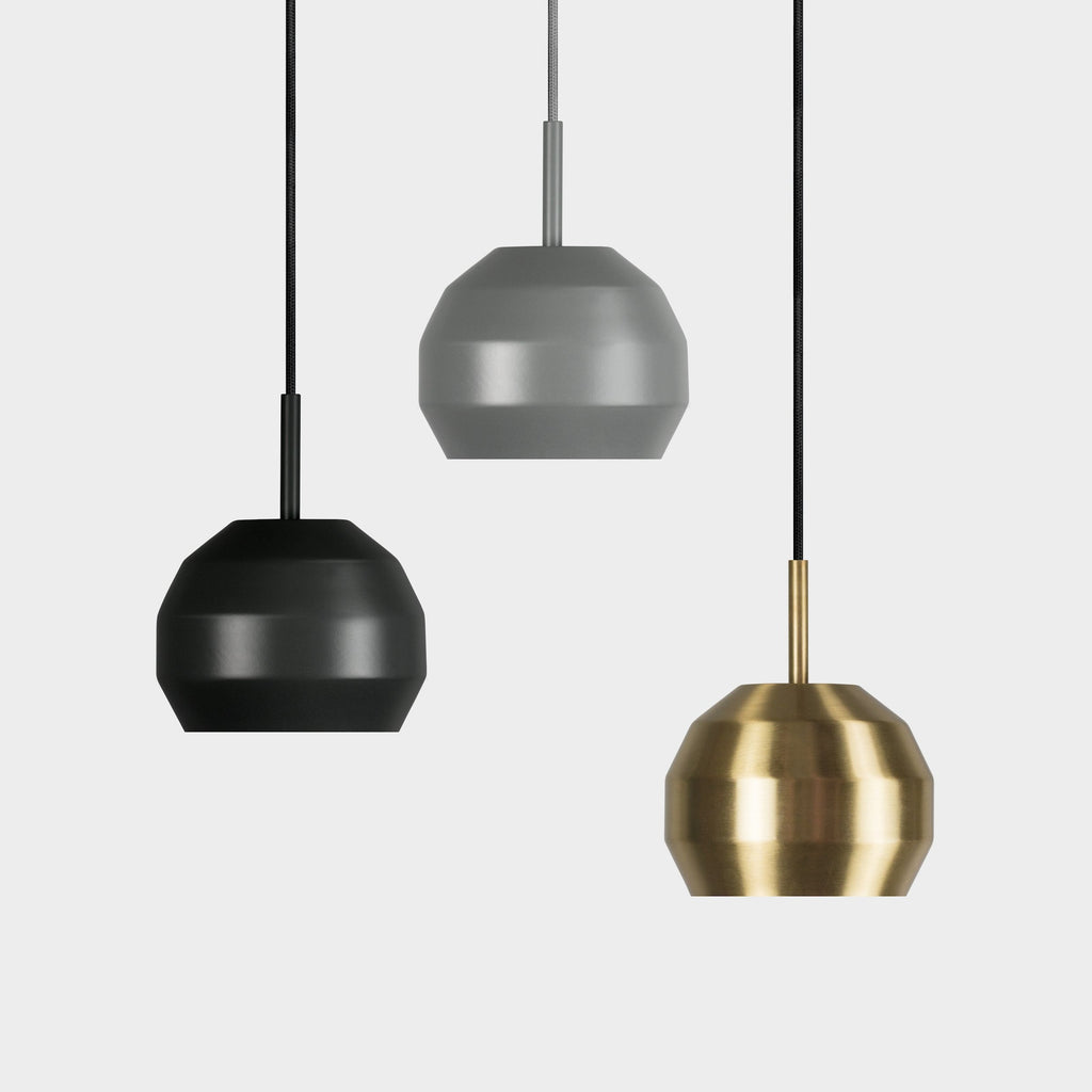 Vitamin Mini Pitch Pendant in solid brushed brass, black and grey. Available from someday designs