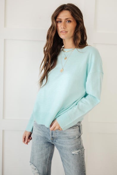 Lonely Like Me Sweater in Aqua